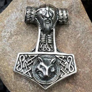 Thors Hammer - Odin und Wolf - aus 925 Sterling Silber