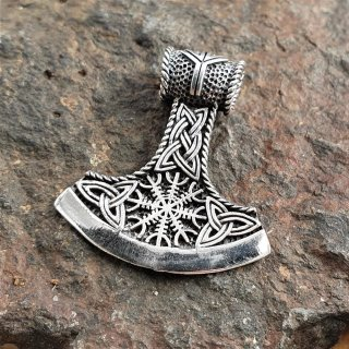 "Wikingerbeil ""Baði"" Schmuck Anhänger mit Vegvisir aus 925 Sterling Silber"