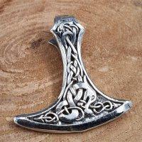 Wikingerbeil verziert mit der Midgardsschlange aus 925 Sterling Silber