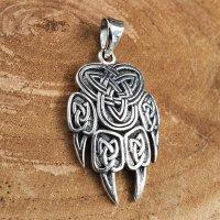 Wikinger Bärenkralle Anhänger verziert mit keltischen Knoten aus 925 Sterling Silber