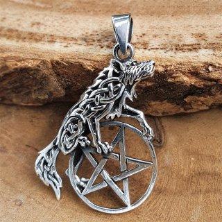 Wolf auf Pentagramm Anhänger aus 925er Sterling Silber