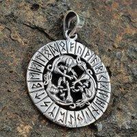 Wolfsrudel Schmuck Amulett mit Runen aus 925er Sterling...