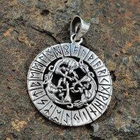 Wolfsrudel Schmuck Amulett mit Runen aus 925er Sterling Silber