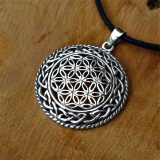 Blume des Lebens Schmuck Anhänger mit keltischem Knoten aus 925 Sterling Silber