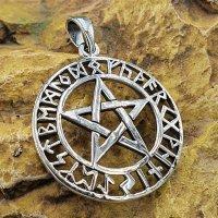 Pentagramm Anhänger mit nordischen Runen aus 925er...