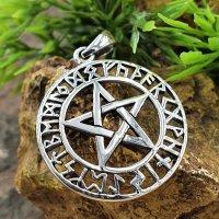 Pentagramm Anhänger mit nordischen Runen aus 925er Sterling Silber