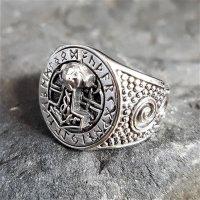 Thors Hammer Siegelring mit Runen aus 925 Sterling Silber