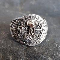 Thors Hammer Siegelring mit Runen aus 925 Sterling Silber 57 (18,5) / 8 US
