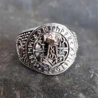 Thors Hammer Siegelring mit Runen aus 925 Sterling Silber 63 (20,1) / 10 US