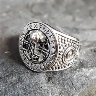 Thors Hammer Siegelring mit Runen aus 925 Sterling Silber 72 (23,0) / 14 US
