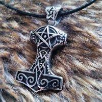 Mjölnir Schmuck Anhänger verziert mit einem Pentagramm aus Edelstahl
