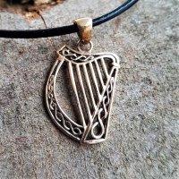 "Keltische Harfe ""Sheila"" Schmuckanhänger aus Bronze"