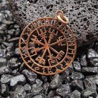 """Vegvisir Anhänger """"HULDA"""", verziert mit nordischen Runen, Bronze"""