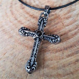 Massiv Kreuz Anhänger mit Onyx, aus Edelstahl