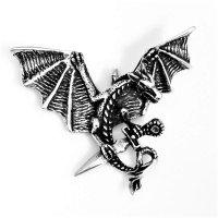 """Drachen mit Schwert Schmuck Amulett """"DRACO"""" aus 925er Sterling Silber"""