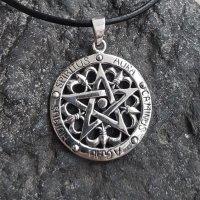 """Pentagramm Anhänger """"Aura Caminus Agau Humus..."""