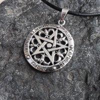 """Pentagramm Anhänger """"Aura Caminus Agau Humus Spiritus"""" aus Sterling Silber"""