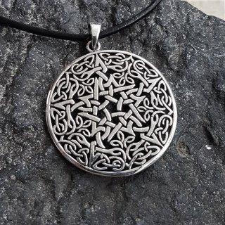 """Keltischer Knoten Anhänger """"GAWAINE"""" mit Pentagramm, aus 925er Sterling Silber"""