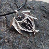 Skelett mit Flügeln Schmuck Anhänger aus 925 Sterling Silber
