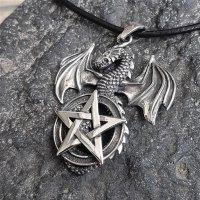 Drachen mit Pentagramm Anhänger aus 925er Sterling...