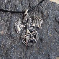 Drachen mit Pentagramm Anhänger aus 925er Sterling Silber