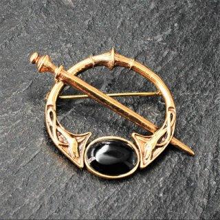 Fibel Onyx Fibel Brosche aus Bronze Gewandnadel