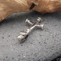 Massives Wolfskreuz Schmuckanhänger aus Sterling Silber