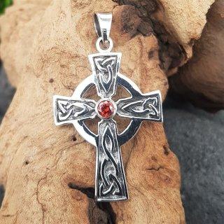 Keltenkreuz Anhänger mit rotem Stein aus 925 Sterling Silber