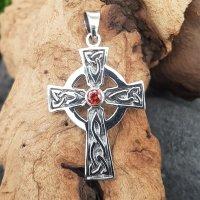 Keltenkreuz Anhänger mit rotem Stein aus 925...