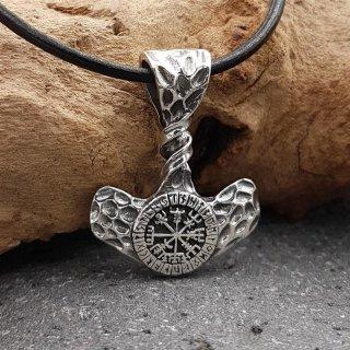 Gedrehter Thors Hammer Anhänger mit einem Vegvisir aus 925 Sterling Silber