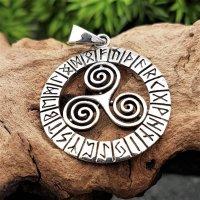 Triskele Schmuck Anhänger mit nordischen Runen aus...