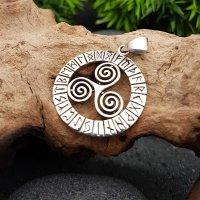 Triskele Schmuck Anhänger mit nordischen Runen aus 925 Sterling Silber