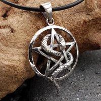 Schmuckanhänger Pentagramm mit Schlange aus 925 Sterling Silber