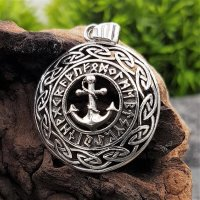 Anker umgeben von Runen im keltischen Knotenkreis aus 925...