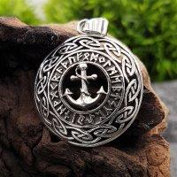 Anker umgeben von Runen im keltischen Knotenkreis aus 925 Sterling Silber