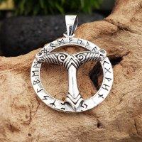 Irminsul Anhänger im Runenkreis aus 925 Sterling Silber