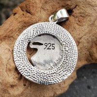 Wolfskopf Schmuckanhänger im Runenkreis aus 925 Sterling Silber