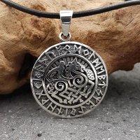 Odin auf Sleipnir Anhänger im Runenkreis aus 925 Sterling Silber