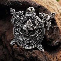 Wikingerhelm mit Schwert - Anhänger aus 925 Sterling Silber