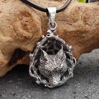 Wolfskopf umgeben von Ästen Anhänger aus 925 Sterling Silber