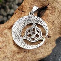 Silber Schmuckanhänger aus Sterling Silber - Triquetra im Halbmond