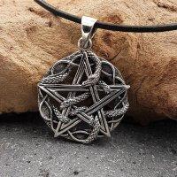 Pentagramm Anhänger umschlungen von einer Schlange aus 925 Sterling Silber