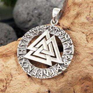 Vaknut im Runenkreis Anhänger aus 925 Sterling Silber