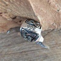 Mammenaxt Schmuckanhänger verziert mit einem Vegvisir aus 925 Sterling Silber