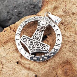 Mjölnir Anhänger mit Runenkreis aus 925 Sterling Silber