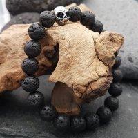 Lava Kugelarmband mit Totenkopf aus Edelstahl