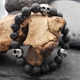 Lava Kugelarmband mit Totenkopfe aus Edelstahl