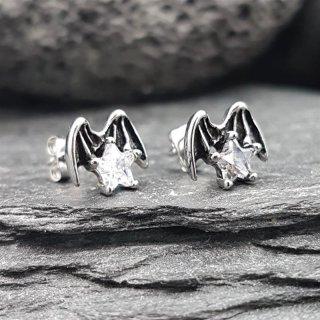 Fledermausflügel Ohrstecker aus Edelstahl mit weißem Stein