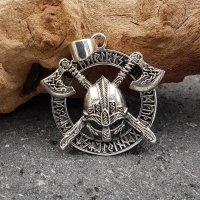 Wikingerhelm mit Äxte im Runenkreis - Anhänger aus 925 Sterling Silber