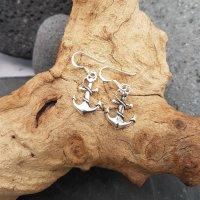 Anker mit Seil Ohrhänger aus 925 Sterling Silber